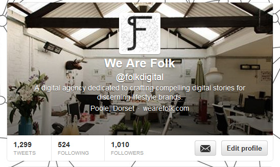 We hit 1,010 followers this week and in our 10th birthday year too! Do you follow us? Look us up - @folkdigital