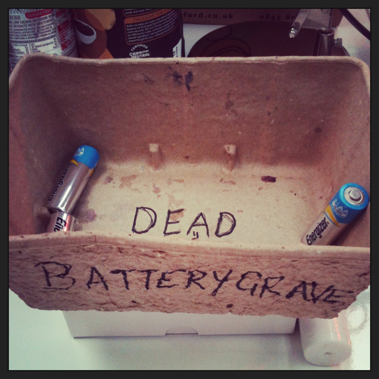 It's a worrying moment when you stumble across this on the office managers desk. RIP little batteries…
