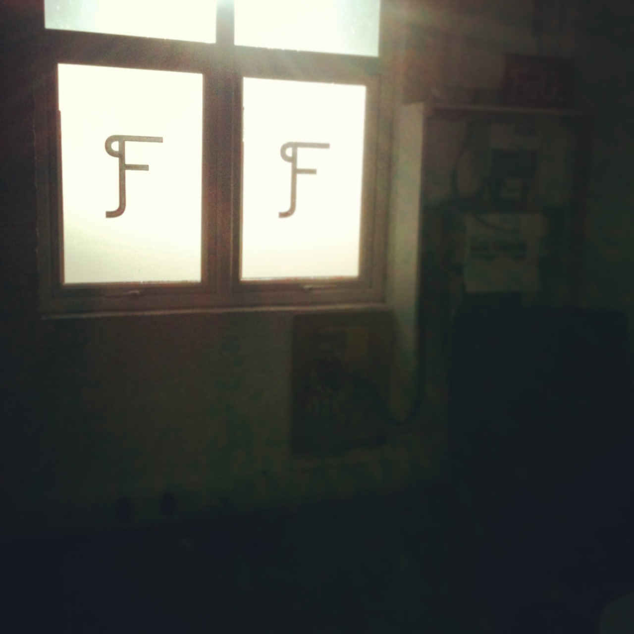 We like it when the sun shines- we can actually see the Folk 'f' on our windows