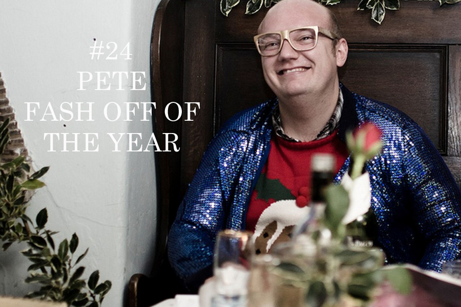 2012 has been the year of the Fash Off, from florescent jackets to Canadian tuxedos there have been so many looks to choose from.   Oli may take the prize for most frequent attendance in the Fash Off look book but the winning look this year comes from a little bit of dark horse competition.   Pete's festive knits combined with quiz show sequins are perfectly accessorized with golden specs that make him look ready to step into Christmas.   Congratulations Pete-It's truly a look Elton John would be proud of.