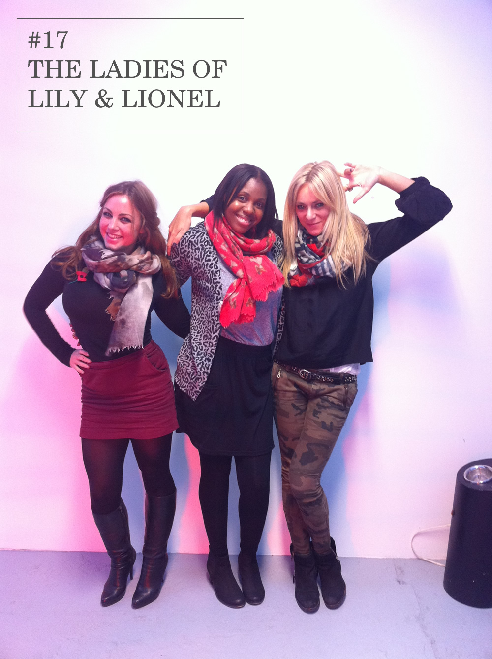 The lovely ladies of Lily and Lionel are the first to make a coveted guestappearanceon the Folk Fash Off.   Wearing matching scarves in mismatched prints, they perfectly accessorize their outfits whilst showing off their personalities. The girls truly showed Folk how to wear a scarf with style.    All scarves Lily and Lionel