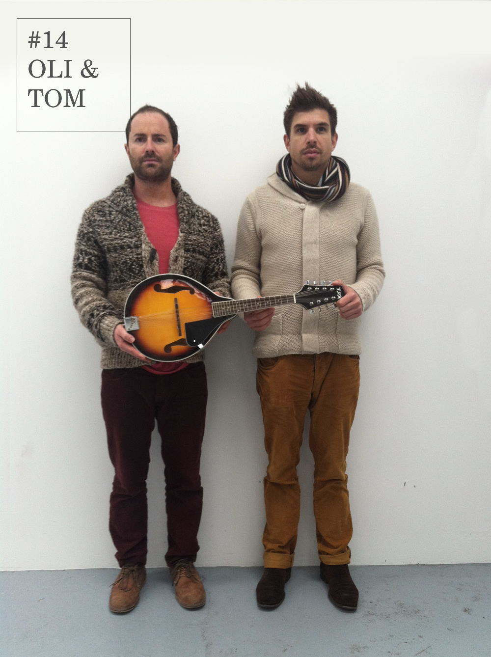 The first double Fash Off honour belongs to Tom and Oli, the comedy duo are so in sync that even their colour palettes arecomplimentary.   In what looks like it could be the test shot for their debut album of folk songs, they layer clothing for a cosy and casual look perfect for the cold weather. We expect to hear their demo any day now…    Oli     Thick knit :Zara         Red trousers :Zara         Red t-shirt: River Island         Stubble: Locally sourced       Tom     Top: Reiss       Trousers: Zara       Hair: Bed