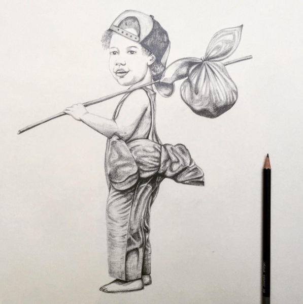 Little Boy Drawing | Pencil Drawing | Art Commissions
