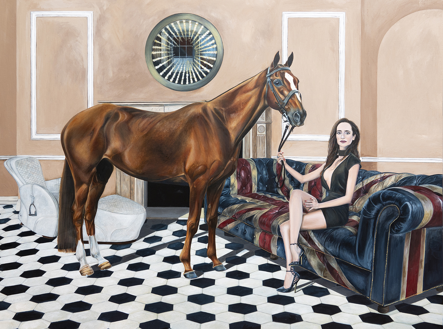 Helmut Newton inspired horse painting