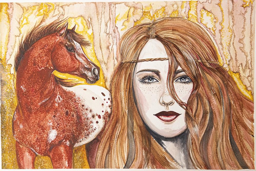 American Girl and Appaloosa | Equine Art | Horse Art