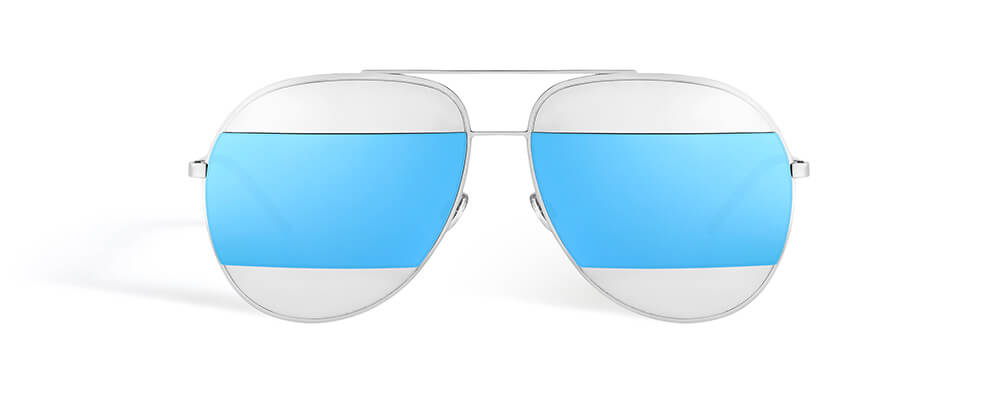 Silver-tone-metal-inserts-with-blue-mirrored-lenses