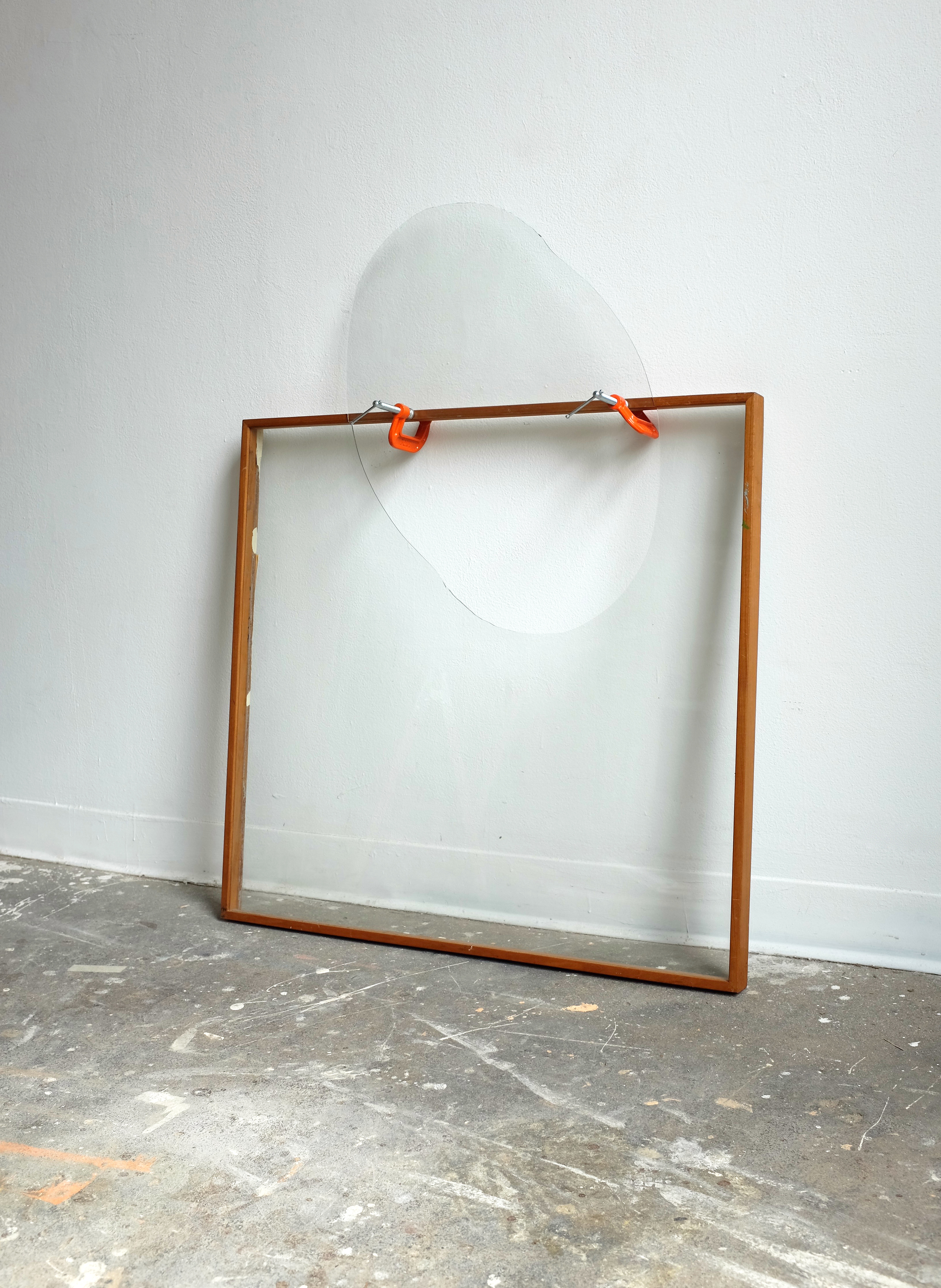 """Glass, frame, C clamps  42 x 30.5 x 5"""",2016"""