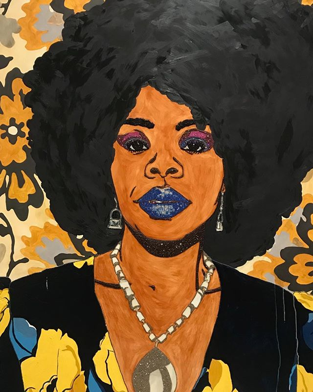 """So lucky to be able to see the Posing Modernity exhibit at Columbia over the weekend. Here is """"Din, a beautiful black woman #1"""", by  Mickalene Thomas, 2012."""