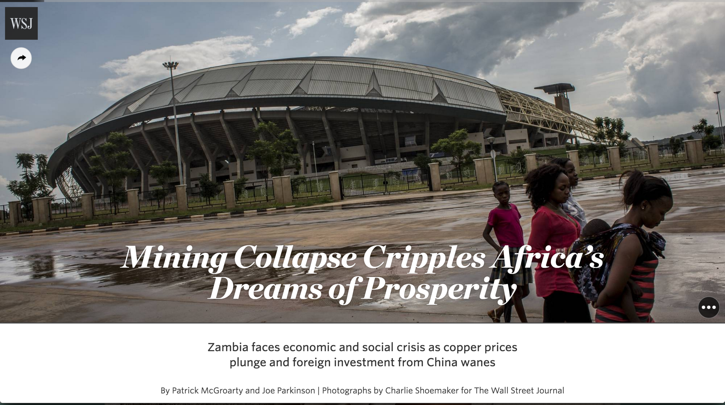 Mining Collapse Cripples Africa's Dreams of Prosperity for the WSJ