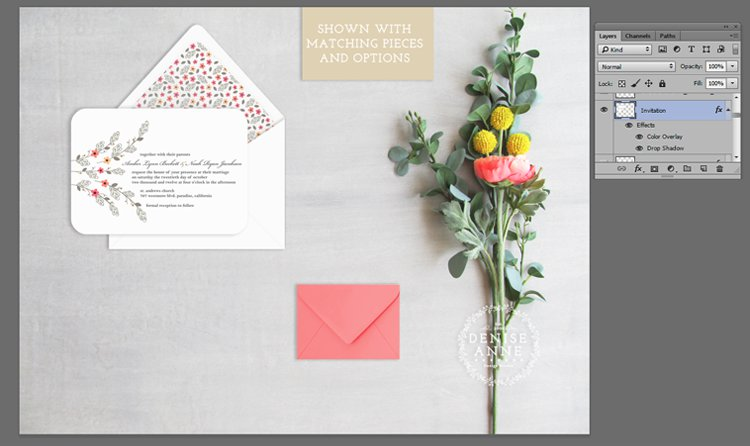 Invitation product with layer effects