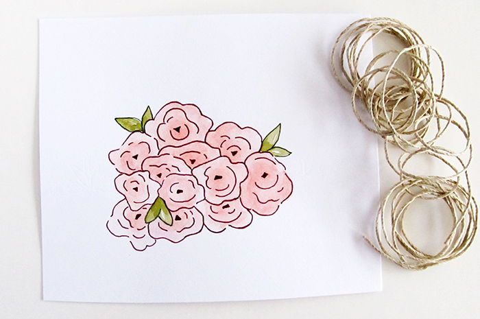 watercolor flower bunch pattern print