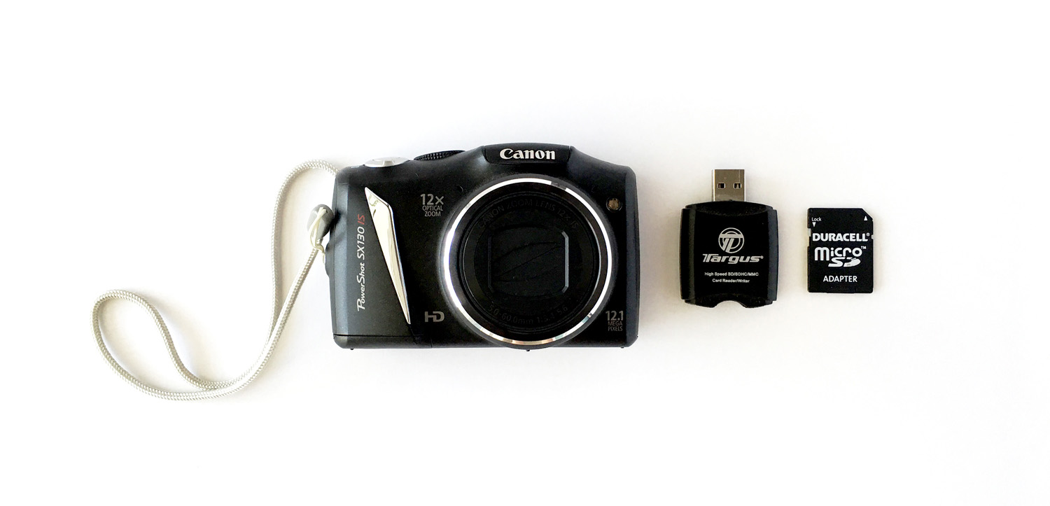 This is my trusty digital camera, card reader, and micro SD card.