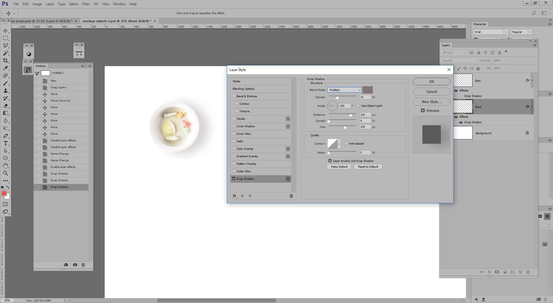 Applying drop shadow to bowl on white background. Your settings would be different on a darker background.