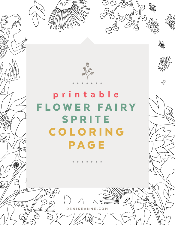 printable flower sprite color page free for kids and schools