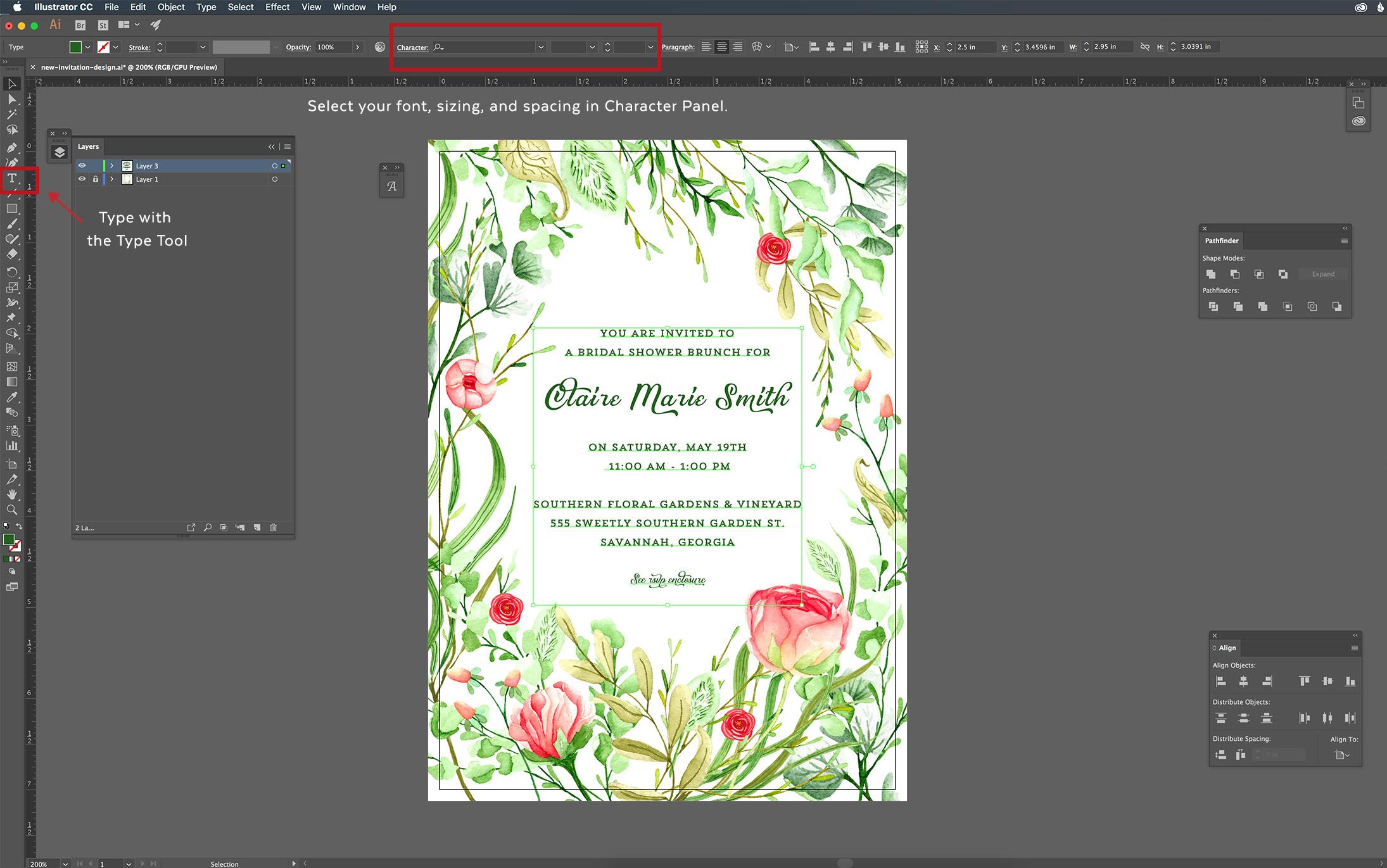 design-invitation-illustrator-tutorial-align-wording