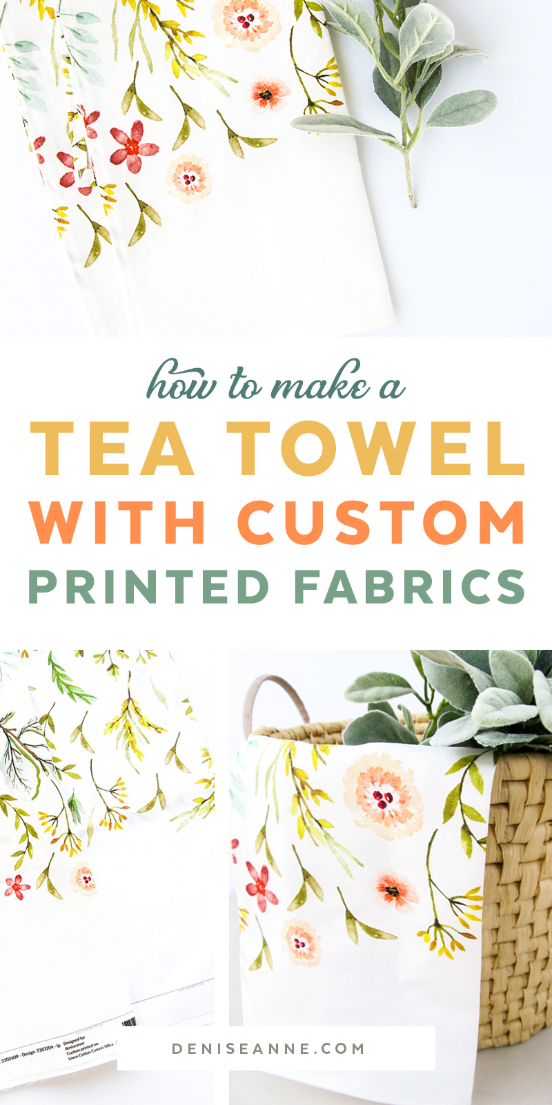 Making tea towels with custom printed fabrics, botancial wildflower kitchen towels.