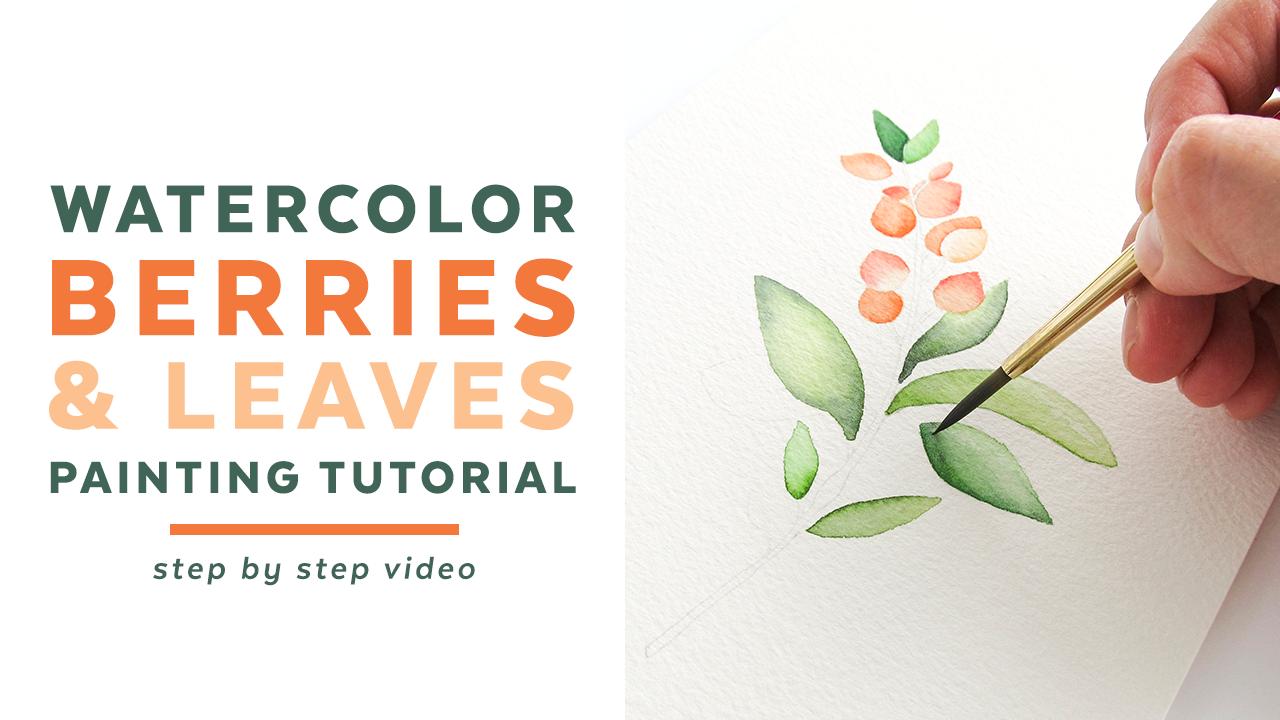 watercolor berries leaves painting tutorial