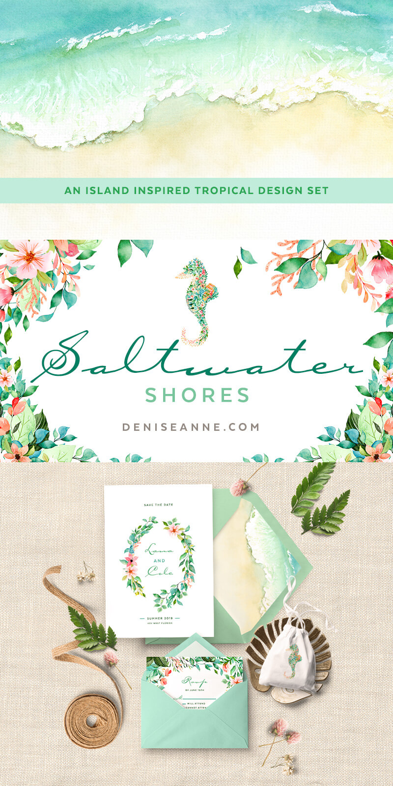 Watercolor tropical clipart with seahorse for invitation designs