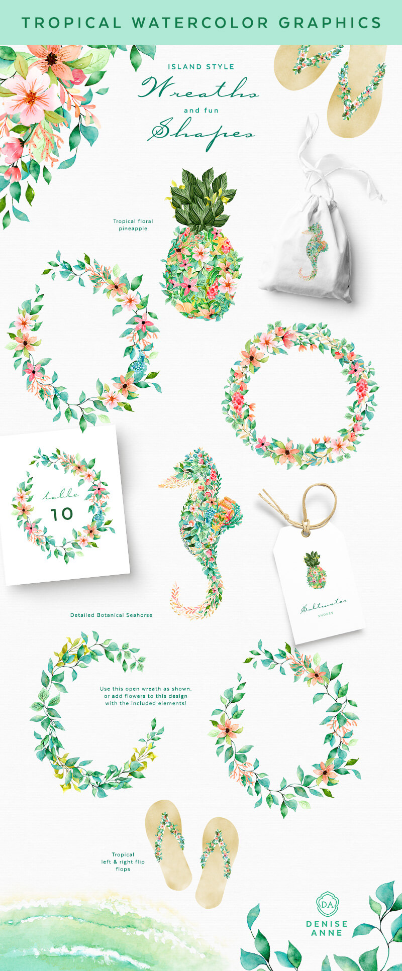 Tropical watercolor clipart graphics flower wreath with seahorse and pineapple