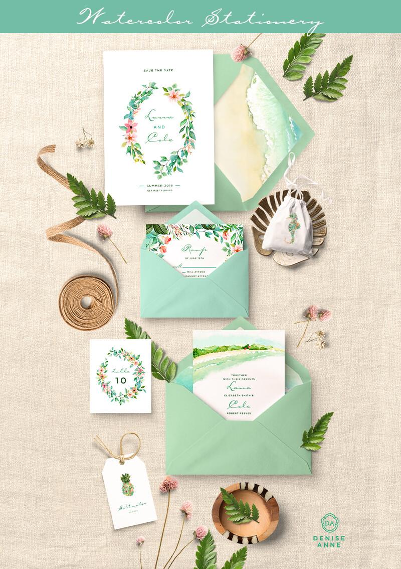 Tropical leaf wedding invitation clipart design set