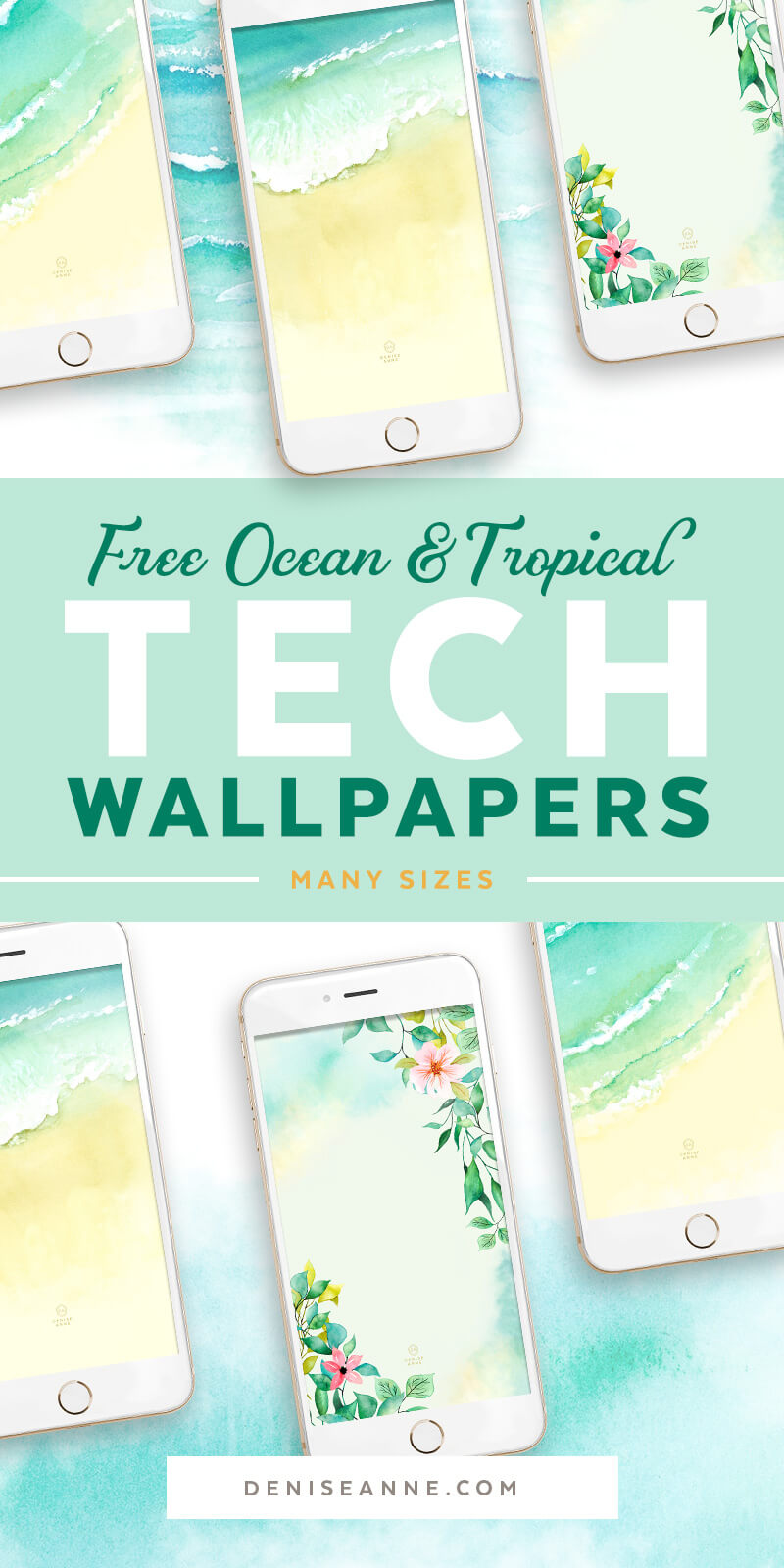Bring the beach with you and get these free ocean waves and tropical flower phone wallpapers! Available in many phone sizes.