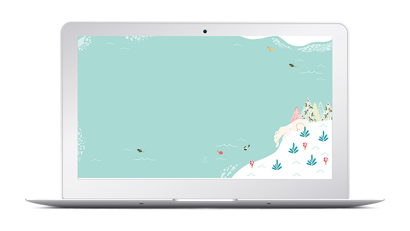 Polar Bear - Christmas Wallpaper Design