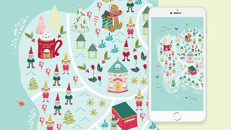 Free Christmas Map Phone Wallpaper Background