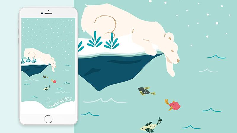 Free Polar Bear Christmas Phone Wallpaper