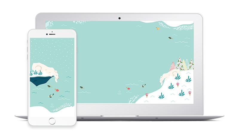 Free Polar Bear Christmas Desktop and Phone Wallpapers