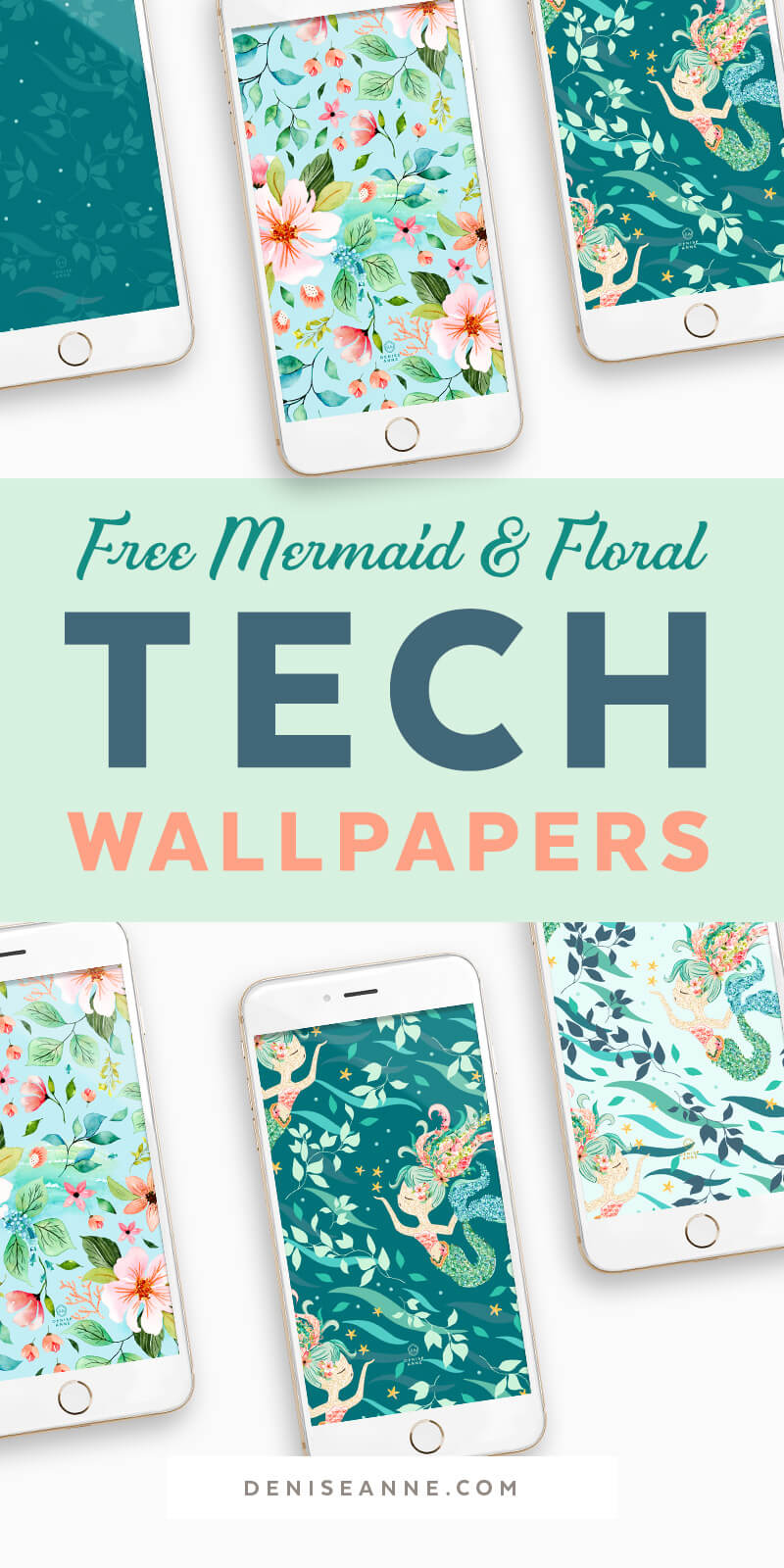 Free Mermaid Tropical Floral Watercolor Phone Wallpaper Backgrounds