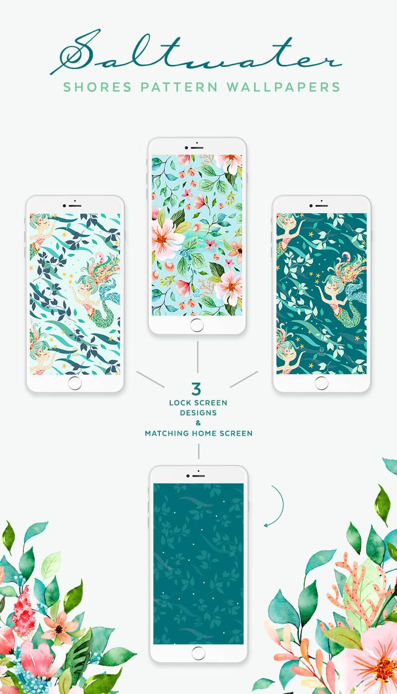 Free Mermaid Tropical Floral Phone Screen Wallpapers