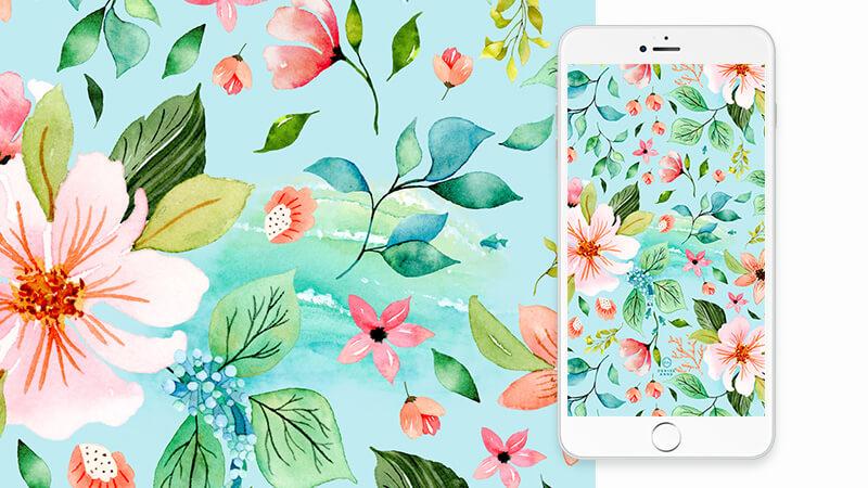 Free Ocean Tropical Watercolor Floral Phone Wallpaper