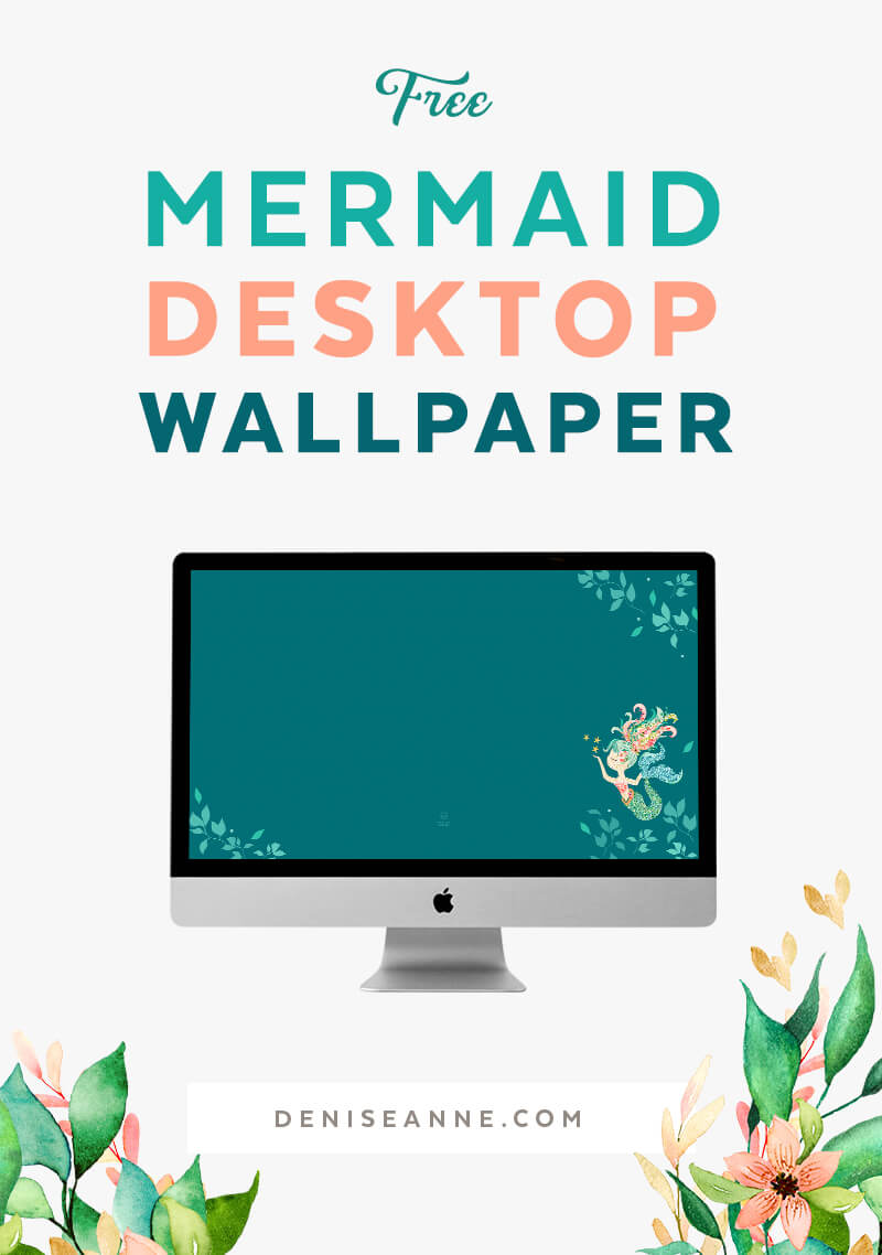 Free Mermaid Floral Desktop Wallpaper Backgrounds