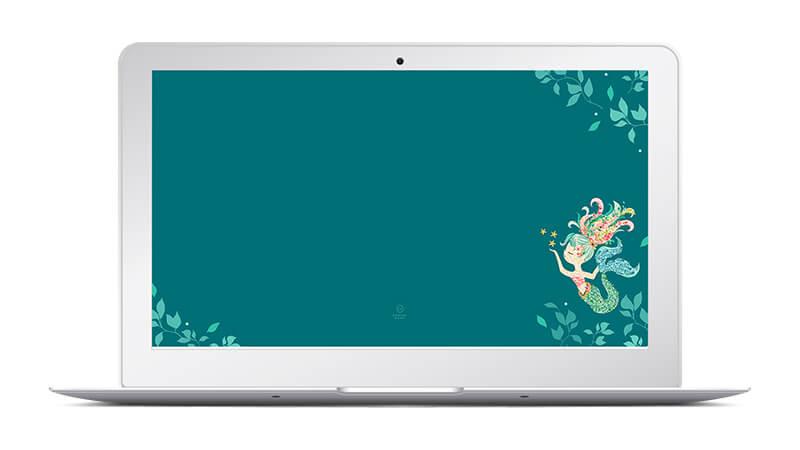 Free Mermaid Floral Desktop and Phone Wallpapers