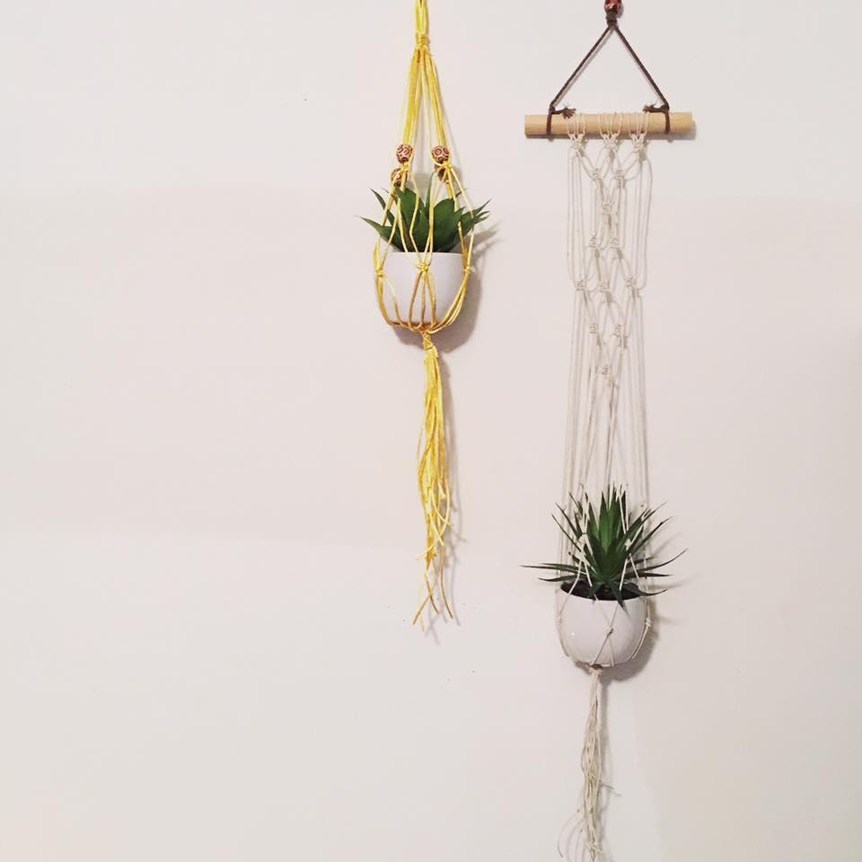 A. Miller, hanging macrame plant holders