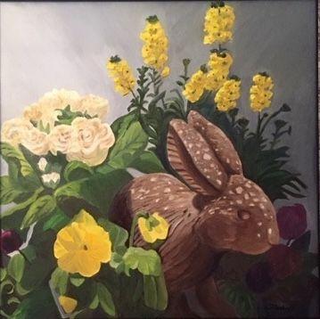 S Cockett, Bunny Among the Primroses