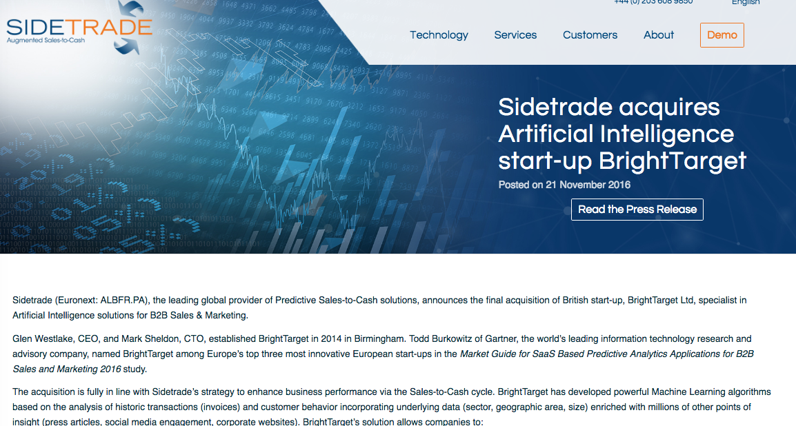 Press release for FinTech company Sidetrade