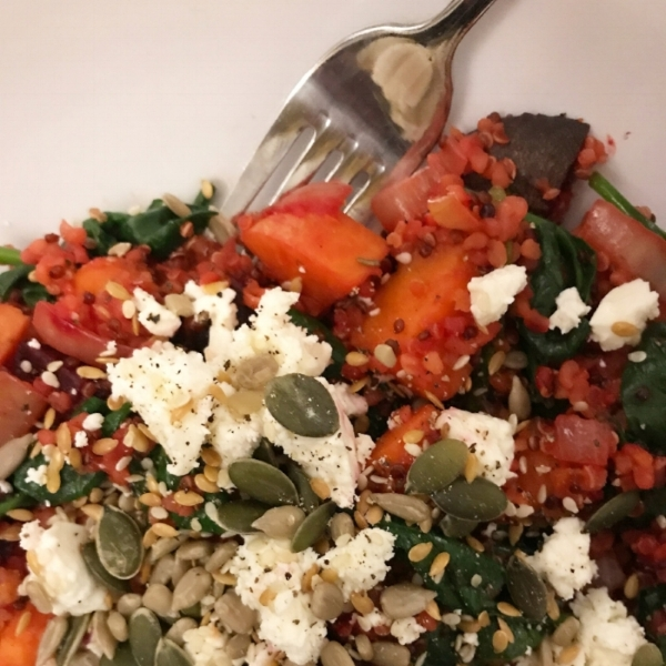 Roasted sweet potato, broccoli, spinach and feta with quinoa and mixed seeds.
