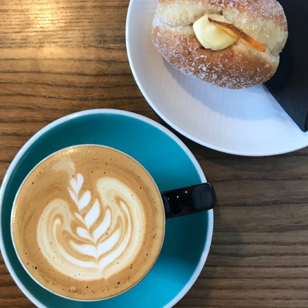 Flat white and salted caramel dooughnut of dreams.
