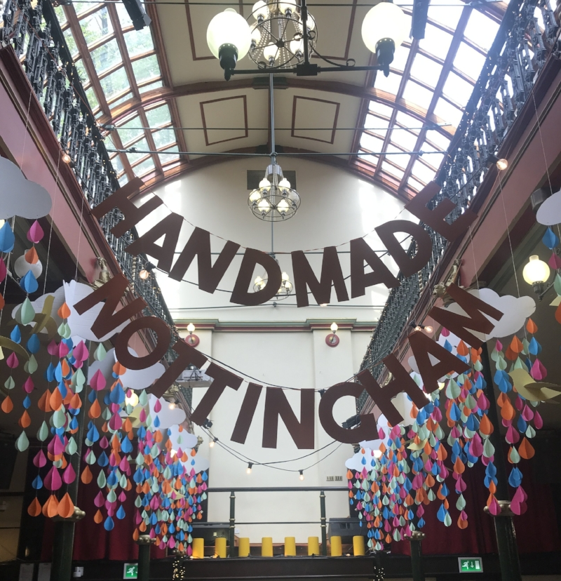 Handmade Nottingham Spring Market decorations.