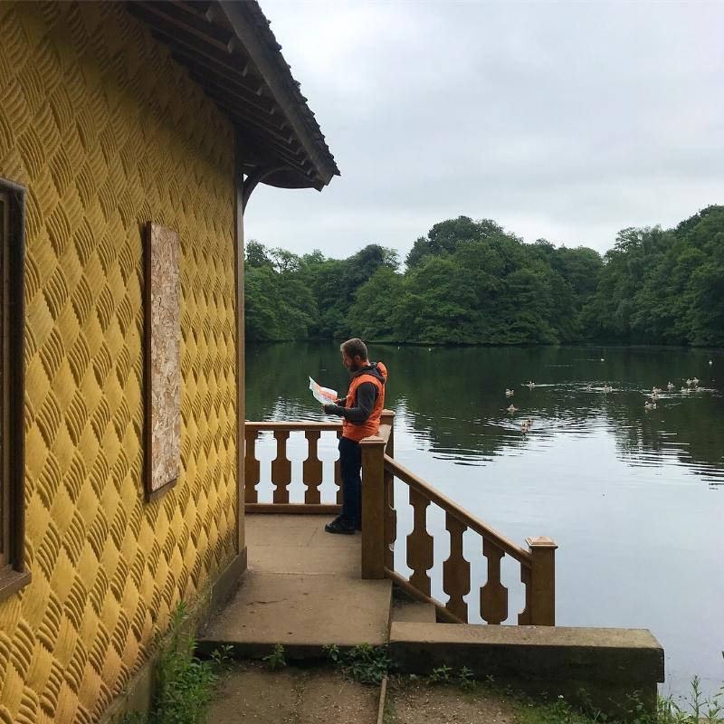 Sunshine-y boat house at Belton House