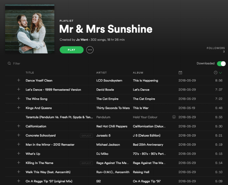 Our mash up of wedding playlists all in one place :  Mr & Mrs Sunshine on Spotify