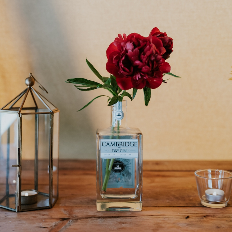 One of favourite local Gins and the neighbour's Peonies.