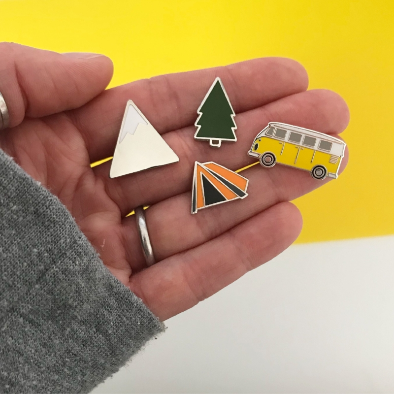 Hello Sunshine pins, inspired by our adventures, went on to inspire our wedding stationery!
