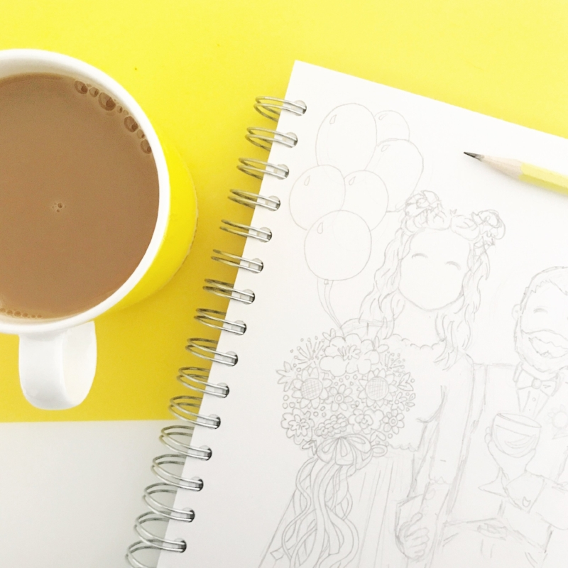 Sketching is always accompanied by a nice cup of Yorkshire Tea