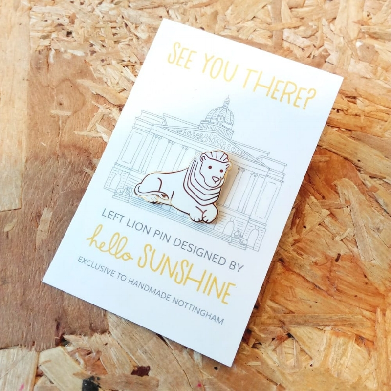 Left Lion pin also available at  Handmade Nottingham ! YAY!