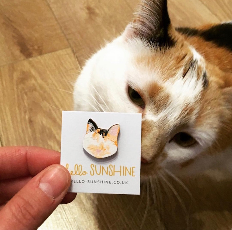 Scully and her mini-me pin! ( custom kitty lapel pin )