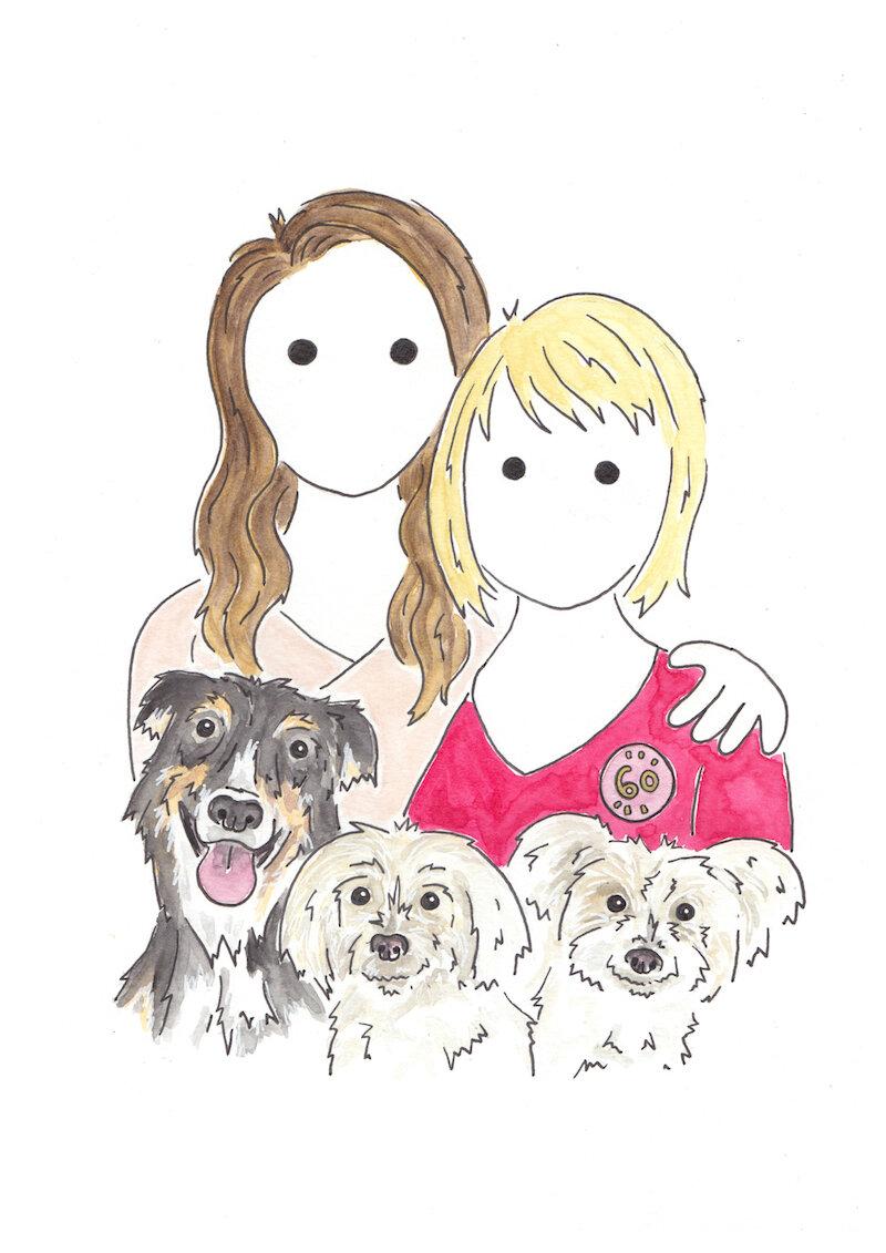 Hello sunshine watercolour portrait Andrea & Maddie.jpg