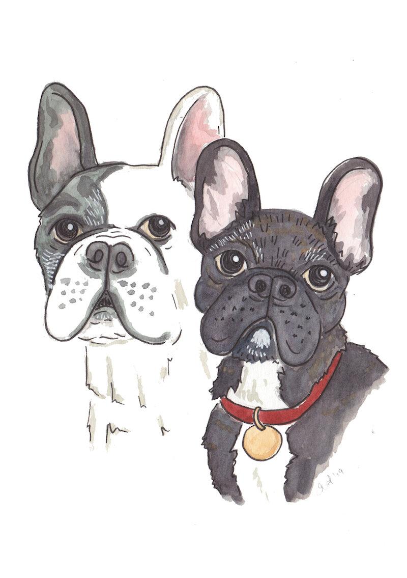 Hello Sunshine watercolour portrait Remi & Margot.jpg