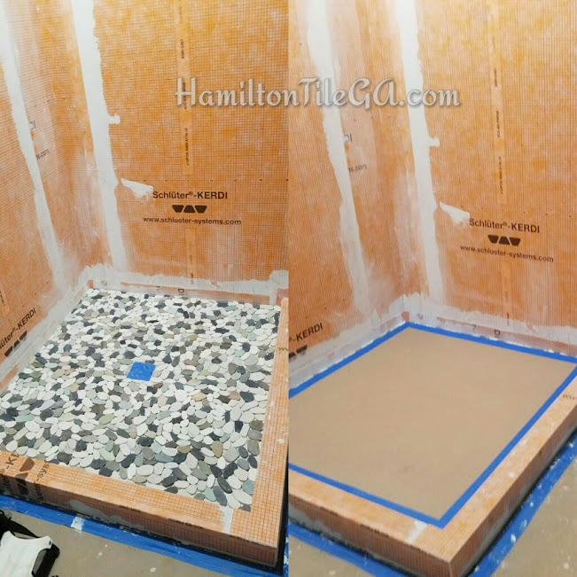 After packing the pan and water proofing, we install the shower floor tile of your choice. Once it's dried we cover it and start the wall tile.